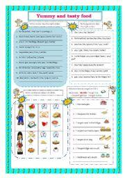 English Worksheets: Food (Word order - positive,negative,interrogative)
