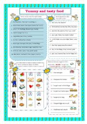 English Worksheet: Food (Word order - positive,negative,interrogative)