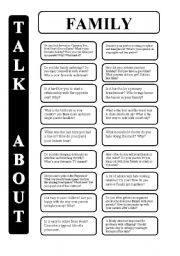 English Worksheet: Family - 18 conversation cards - upper-intermediate level (editable)