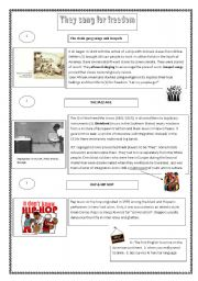 English Worksheets: they sang freedom -Reading comprehension