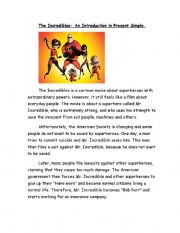 English Worksheets: Reading Comprehension  for Incredibles movie