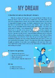 English Worksheets: my dream