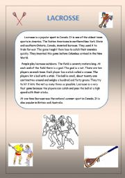 English Worksheets: Lacrosse