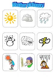 English Worksheet: Weather pictionary - fun game