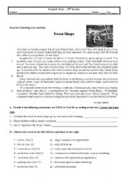 English Worksheet: Test (Sweat shops) 8th grade (With Key)