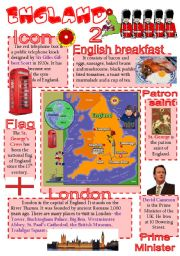English Worksheet: England-info poster for young learners (part 2)