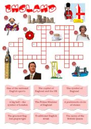 English Worksheet: England-a crossword for young learners