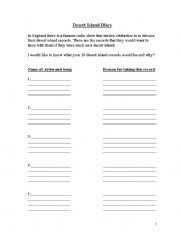 English Worksheets: Desert Island Discs