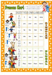 English Worksheet: Prouns Chart - personal, object, possessive adjectives & possesive pronouns with pictures for easy understanding