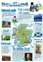 English Worksheet: Scotland-info poster for young learners (part 2)