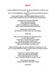 English Worksheets: Rehab, Amy Winehouse