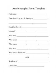 English Worksheets: Autobiography Poem Template