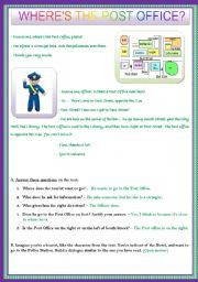 English Worksheet: WHERE�S THE POST OFFICE?