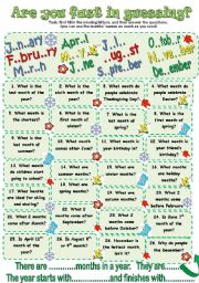 English Worksheet: Are you fast in guessing the months?