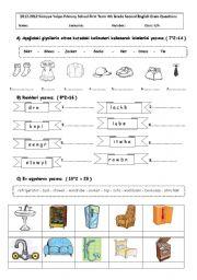 English Worksheet: 2011-2012 4th grade 1st term secon exam :)