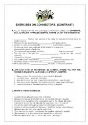 English Worksheet: Connectors of contrast