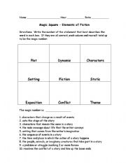 Worksheets Elements Of Fiction Worksheet english teaching worksheets reading comprehension elements of fiction magic square