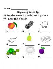 English Worksheet: Beginning Sounds Pp