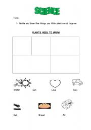 English worksheets: Plants need to grow