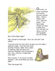 English Worksheets: Annunciation - Reading Comprehension