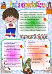 English Worksheets: Paul�s expectations