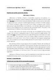 English worksheet: child labour