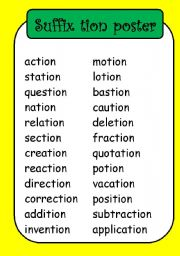 Printables Words Ending In Tion Worksheet english worksheet suffix posters