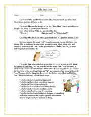 English Worksheets: Two Simple Words; Who and How