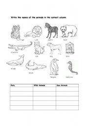 Printables Animal Adaptations Worksheets english teaching worksheets the animals worksheet