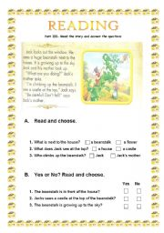 English Worksheets: Jack and the Magic beans part III