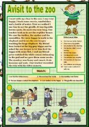English Worksheet: A VISIT TO THE ZOO