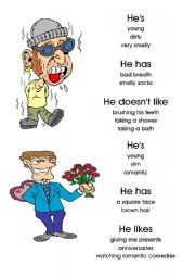 English Worksheet: Physical descriptions: male. Cards 1-10 of 20 with editable backs and instructions.