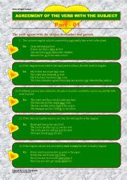 English Worksheet: Subject-verb agreement