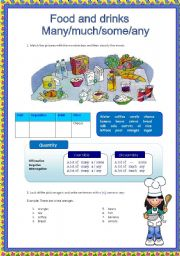 English Worksheet:     Food and drinks - Many/much/some/any