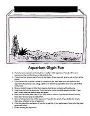 English Worksheets: Aquarium Glyph Fun