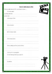 English Worksheets: How to talk about a film