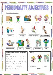 English teaching worksheets: Personality adjectives