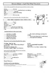 English Worksheets: Song Just the way you are bu Bruno Mars