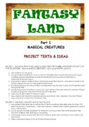 English Worksheets: FANTASY LAND - MAGICAL CREATURES - PART 1