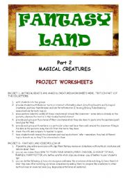 English Worksheets: FANTASY LAND - MAGICAL CREATURES - PART 2