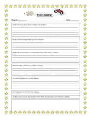 English Worksheets: Novel Study Reflection Sheet
