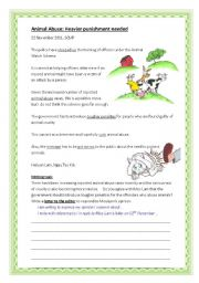 English Worksheets: Writing task (animal abuse)