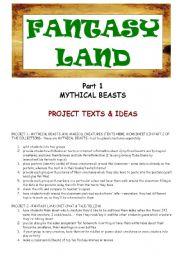 English Worksheets: FANTASY LAND - MYTHICAL BEASTS- PART 1