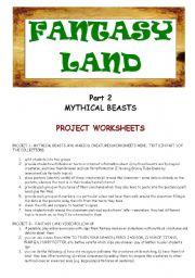English Worksheets: FANTASY LAND - MYTHICAL BEASTS - PART 2