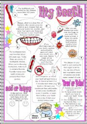 English Worksheets: My teeth : reading ws with comprehension activities