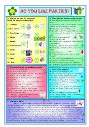 English Worksheet: Do You Like Parties?