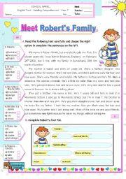 English Worksheet: Meet Robert�s Family  -  Reading Test
