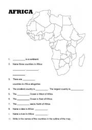English Worksheets: Africa worksheet