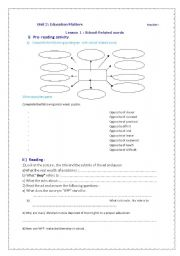 English Worksheets: lesson plan of lesson 1 unit 2 education for 4th level