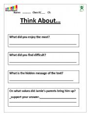 English Worksheets Critical Thinking Questions